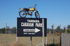 Caravan park entrance road sign. Tandara, Australia Royalty Free Stock Image