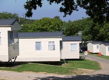 Caravan Park - Mobile Homes. Mobile home static caravans in a park in the isle of wight.  Holiday park Stock Images
