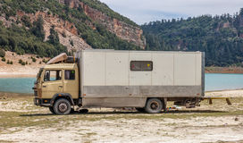 Caravan parked at a lake  Aglmam in Morocco. Royalty Free Stock Photo
