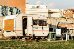 Caravan Poverty. Old caravan used like home from poor man Stock Photography