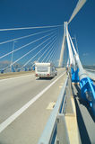 Caravan in rio antirio  bridge, patra greece Royalty Free Stock Photography