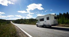 Caravan on a road stock image