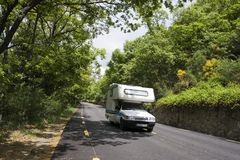 Caravan at road Stock Photos