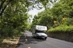 Caravan at road Stock Photos
