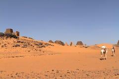 Caravan in the Sahara from Sudan near Meroe Stock Photos