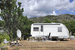 Caravan with satellite dish Stock Image