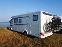 Caravan by the sea summer holidays outdoor. Caravan by the sea summer holidays driving outdoor stock photography