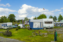 Caravan site Arkosund Sweden Royalty Free Stock Photo