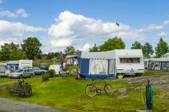 Caravan site Arkosund Sweden Royalty Free Stock Photo