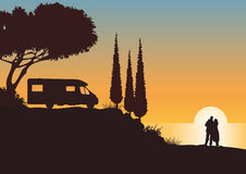 Caravan in the sunset Royalty Free Stock Photo