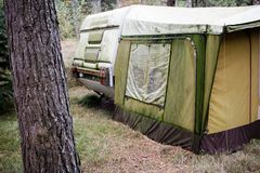 Caravan with tent Royalty Free Stock Photo