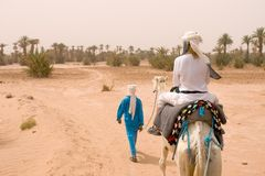 Caravan of tourists in desert Royalty Free Stock Photos