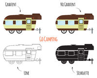 Caravan Trailers Isolated. RV, motorhome, trailer and caravan park logo, icon, badges. Summer Outdoor activity and camping travel theme. Flat, line and royalty free illustration