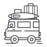 Caravan,travel camping trailer vector line icon, sign, illustration on background, editable strokes vector illustration