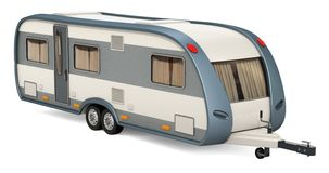 Caravan, travel trailer. 3D rendering. Isolated on white background vector illustration