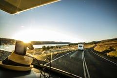 Caravan travelling around AU. Travel around Australia in caravans. Stunning road view and scenery. Adventure is waiting Royalty Free Stock Photo