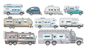 Caravan vector rv camping trailer and caravanning vehicle for traveling or journey illustration transportable set of. Camp van or tourism transport isolated on stock illustration