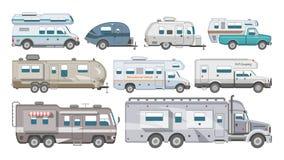 Caravan vectorrv het kamperen aanhangwagen en caravanning voertuig om te reizen of de vervoerbare reeks van de reisillustratie va stock illustratie