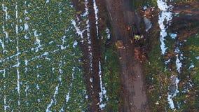 Caravan visto dal fuco, orario invernale stock footage