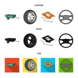 Caravan, wheel with tire cover, mechanical jack, steering wheel, Car set collection icons in cartoon,black,flat style. Vector symbol stock illustration vector illustration