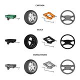 Caravan, wheel with tire cover, mechanical jack, steering wheel, Car set collection icons in cartoon,black,monochrome. Style vector symbol stock illustration royalty free illustration