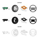 Caravan, wheel with tire cover, mechanical jack, steering wheel, Car set collection icons in cartoon,black,outline style. Vector symbol stock illustration vector illustration