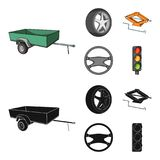 Caravan, wheel with tire cover, mechanical jack, steering wheel, Car set collection icons in cartoon,black style vector. Symbol stock illustration stock illustration