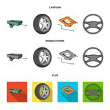 Caravan, wheel with tire cover, mechanical jack, steering wheel, Car set collection icons in cartoon,flat,monochrome. Style vector symbol stock illustration vector illustration