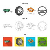 Caravan, wheel with tire cover, mechanical jack, steering wheel, Car set collection icons in cartoon,outline,flat style. Vector symbol stock illustration vector illustration