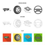 Caravan, wheel with tire cover, mechanical jack, steering wheel, Car set collection icons in flat,outline,monochrome. Style vector symbol stock illustration royalty free illustration