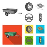 Caravan, wheel with tire cover, mechanical jack, steering wheel, Car set collection icons in monochrome,flat style. Vector symbol stock illustration vector illustration