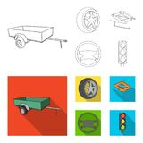 Caravan, wheel with tire cover, mechanical jack, steering wheel, Car set collection icons in outline,flat style vector. Symbol stock illustration royalty free illustration