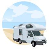Caravana cerca de la playa stock de ilustración