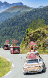 Caravana de Banette em montanhas de Pyrenees - Tour de France 2015 Fotos de Stock