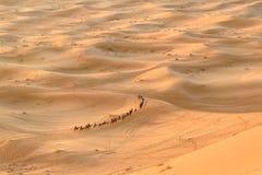 Caravana de camellos en dunas de arena de Chebbi del ergio cerca de Merzouga, Marruecos imágenes de archivo libres de regalías