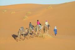 Caravana del camello en dunas del desierto de la arena de África Fotos de archivo libres de regalías