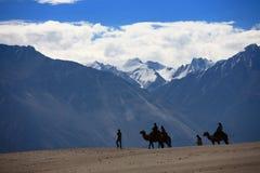 Caravana del camello en las dunas de arena en el desierto Imagen de archivo