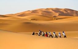 Caravana del camello que pasa a través de las dunas de arena Fotografía de archivo libre de regalías