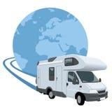 Caravana que viaja en todo el mundo ilustración del vector