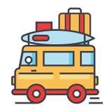 Caravana, viaje, remolque que acampa, van concept Ilustración del Vector