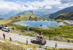 Caravane de Banette dans les Alpes - Tour de France 2015 Images libres de droits