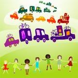Caravane, groupe de jeu de gosses Image stock