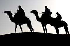 Caravane silhouette. Silhouettes of three man riding dromedaries in the desert Stock Photography