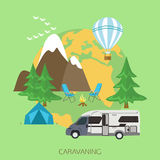 Caravaning and camping tourism background. Flat Royalty Free Stock Photos