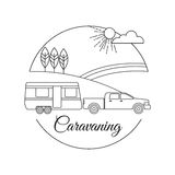 Caravaning tourism outline background Royalty Free Stock Photography