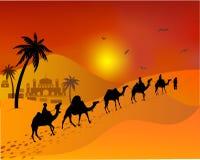 Caravankamelen die door de woestijn gaan het Moslimlandschap van het oosten Stock Fotografie