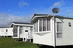 Caravanpark in de zomer Royalty-vrije Stock Foto's