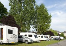 Caravans and campers at camping site Royalty Free Stock Photos