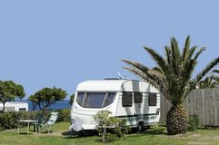 Caravans at camping Royalty Free Stock Images