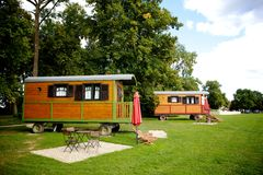 Caravans on a field Stock Photography